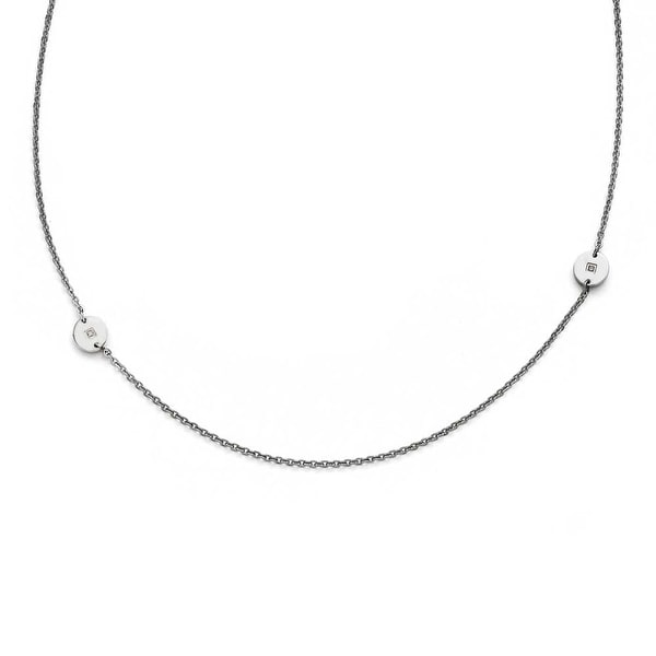 Chisel Stainless Steel Polished Circles with CZ Necklace - 33.75 in
