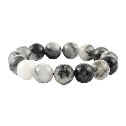 Shop LC Black Rutile Quartz Stretch Bracelet Ct 290
