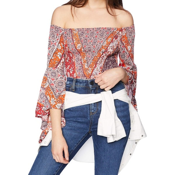 Angie Red Womens Medium M Smocked Bell Sleeve Off Shoulder Blouse