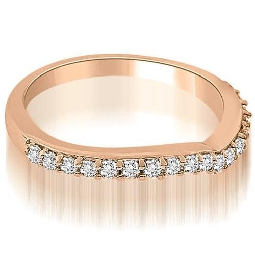 0.20 cttw. 14K Rose Gold Curved Round Cut Diamond Wedding Ring