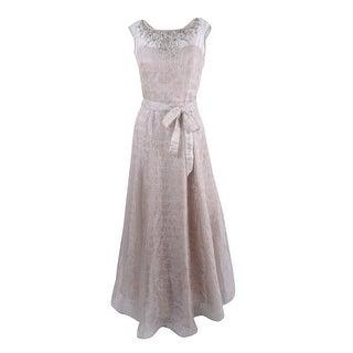 Aidan Mattox Women's Sleeveless Embellished Metallic Gown (12, Beige) - Beige - 12