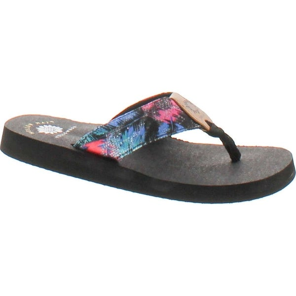 Yellow Box Women's Papaya Hawaiian Print Comfort Foam Wedge Flip Flop Sandal