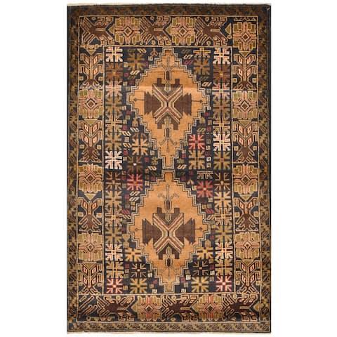 Handmade One-Of-A-Kind Tribal Balouchi Wool Rug (Afghanistan) - 2'10 x 4'7
