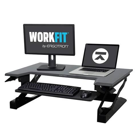 """Ergotron WorkFit-T, Sit-Stand Desk Converter Black, 35"""" wide For Tabletops"""