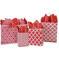 Pack Of 125, Assortment Red Geo Graphics Recycled Paper Bag 25 Rose, 25 Cub, 25 Carrier, 25 Vogue & 25 Queen