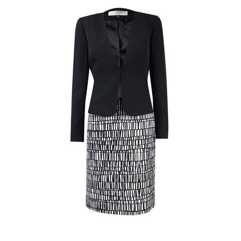 Tahari Women's Petite Crepe Jacket and Printed Skirt Suit - Black/Ivory - 0p