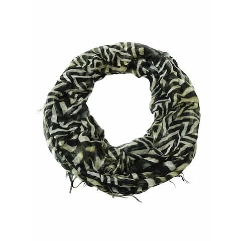 Collection Eighteen Women's Animal Print Fringe Infinity Scarf - Black - One Size Fits Most