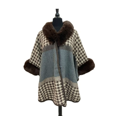 Womens Printed Poncho Caps Bohemian Hoodie Dress For Winter One Size Party Warm Coat With Sleeves