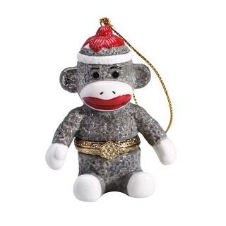 Porcelain Secret Hidden Compartment Sock Monkey Christmas Ornament