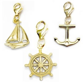 Julieta Jewelry Wheel, Sailboat, Anchor 14k Gold Over Sterling Silver Clip-On Charm Set