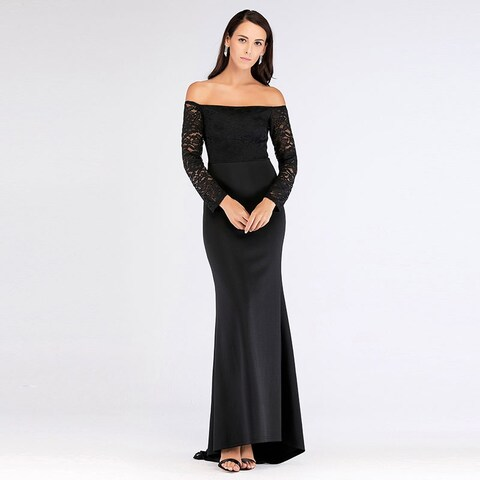 Ever-Pretty Women's Off Shoulder Lace High-Low Formal Evening Party Dress with Train 07611