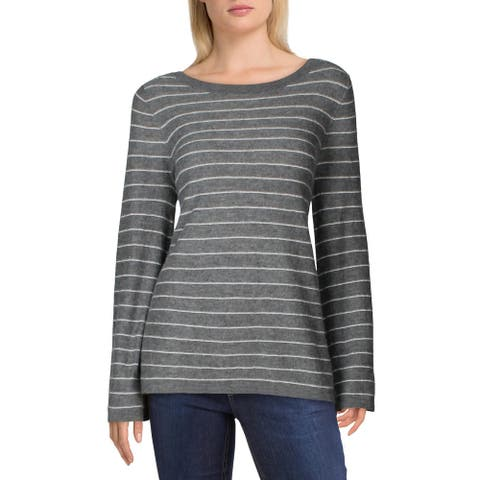 Vince Womens Pullover Sweater Cashmere Str - Grey
