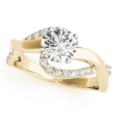 Auriya 14k Gold 1ctw Moissanite and Diamond Engagement Ring 1/4ctw
