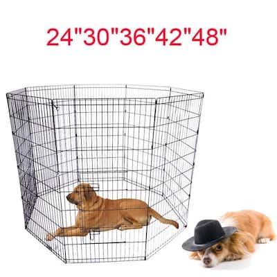 """24""""to 48"""" Folding Tall Wire Exercise Yard Dog Cat Pet PlayPen 8 Panel"""