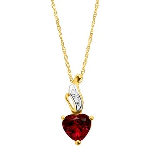 1 ct Created Ruby Heart Pendant with Diamonds in 10K Gold - Red