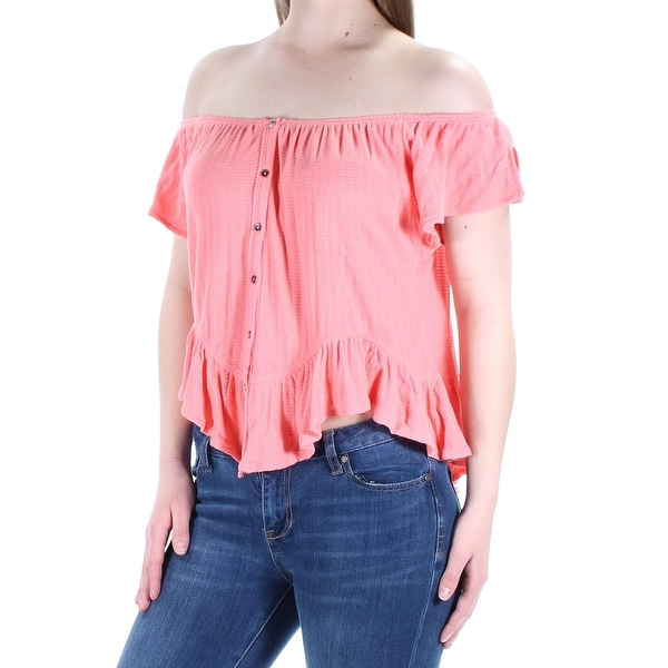0304c53b428 Shop FREE PEOPLE Womens Coral Ruffled Short Sleeve Off Shoulder Peasant Top  Size: S - Free Shipping On Orders Over $45 - Overstock - 27103693