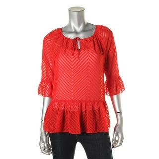 Kensie Womens Polyester Chevron Pullover Top