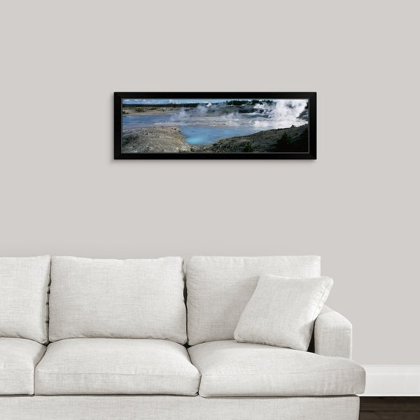 """""""Wyoming, Yellowstone National Park, Porcelain Basin, View of the Norris Geyser Basin"""" Black Framed Print"""