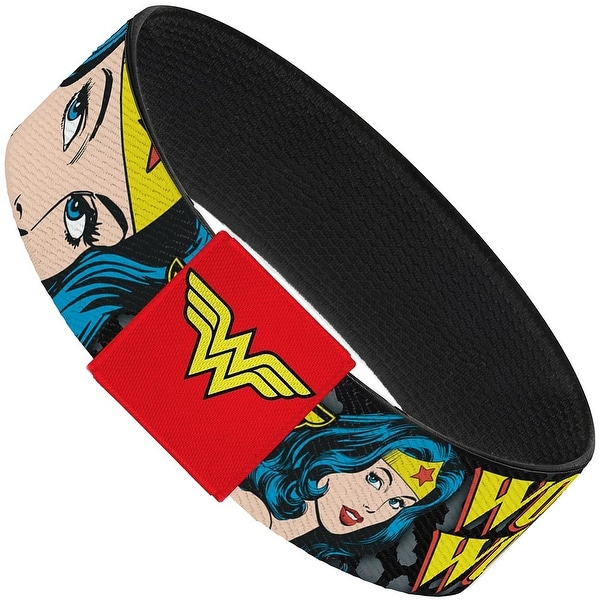 Wonder Woman W Face Close Up Leopard Black Gray Elastic Bracelet