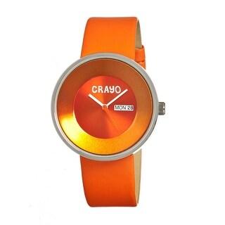 Crayo Button Unisex Quartz Watch, Genuine Leather Band