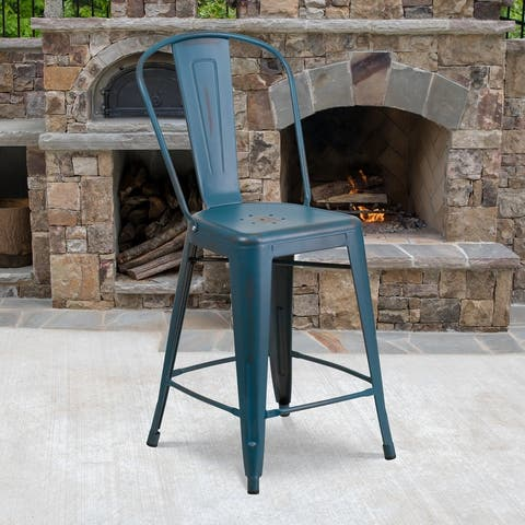 """24"""" High Distressed Metal Indoor-Outdoor Counter Height Stool with Back - 17.75""""W x 22""""D x 40.25""""H"""