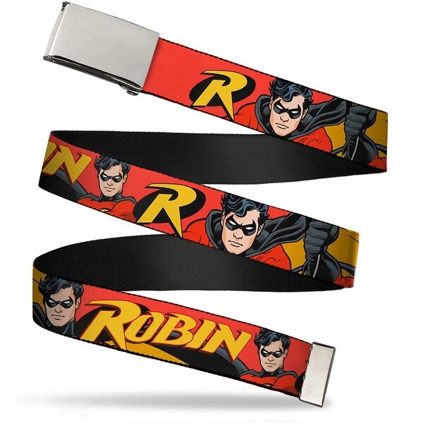"Blank Chrome 1.0"" Buckle Robin Red Black Poses Red Webbing Web Belt 1.0"" Wide - S"