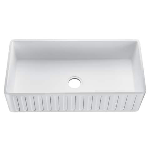 Roine 33 In. Farmhouse Apron Front Man Made Stone Single Bowl Kitchen Sink in Matte White