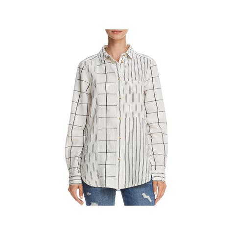 French Connection Womens Button-Down Top Woven Striped - S