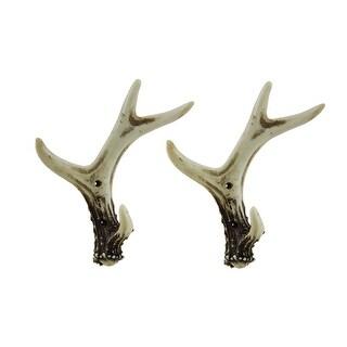 2 Piece Faux Natural Deer Antler Wall Hook Set