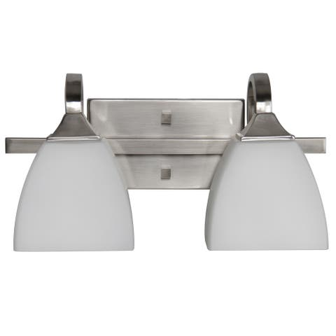 Sunset Lighting Starling Vanity - Frosted Opal Glass, Dimmable - with Bright Satin Nickel
