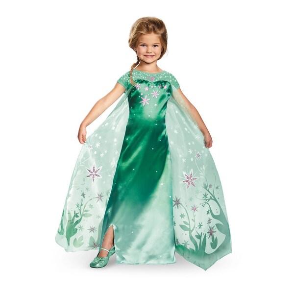 Girls Deluxe Frozen Fever Elsa Costume