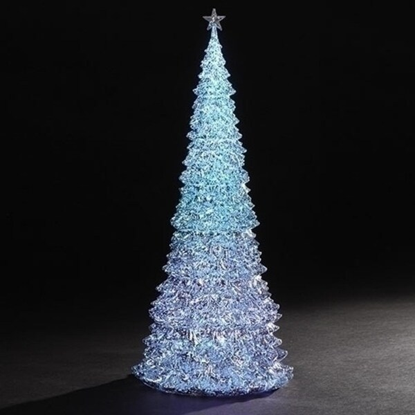 """Set of 2 LED Mercury Tri-color Trees Table Top Christmas Decoration 17"""""""