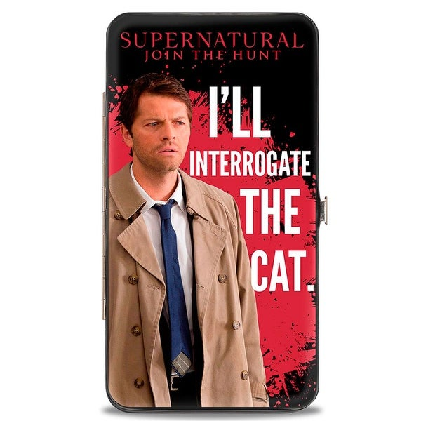 Castiel I'll Interrogate The Cat Black Blood Splatter White Hinged Wallet - One Size Fits most