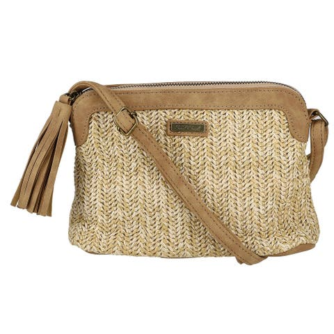 Sun N Sand Women's Polystraw Crossbody Bag with Tassel - Natural - one size