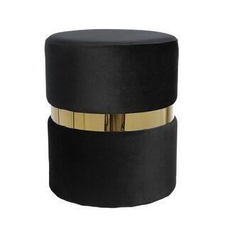 Contemporary Velvet Upholstered Round Ottoman, Black and Gold