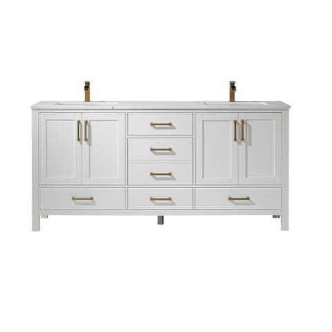 """Shannon 72"""" Double Vanity in White and Composite Carrara White Stone Countertop Without Mirror"""
