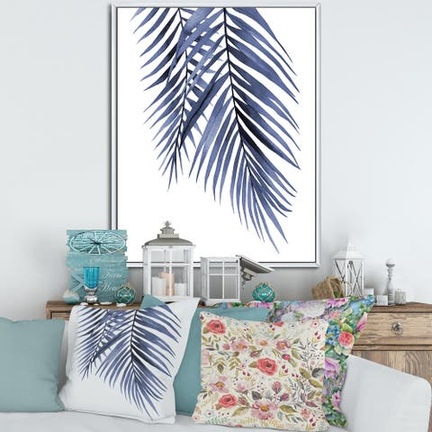 Designart 'Blue Palm Leaves Abstract Tropical Branches' Traditional Framed Canvas Wall Art Print