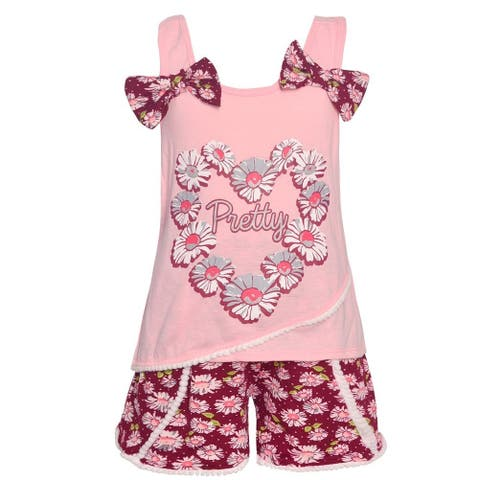 fe594570c Real Love Little Girls Pink Pretty Flower Garland 2 Pc Shorts Outfit