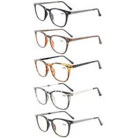 Eyekepper 5-Pack Retro Square Plastic Frame Metal Arms Reading Glasses+1.0