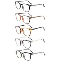 Eyekepper 5-Pack Retro Square Plastic Frame Metal Arms Reading Glasses+2.25