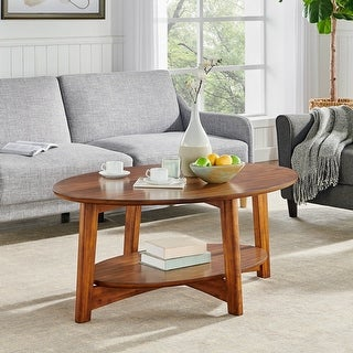 Link to Carson Carrington Yttertanger Oval Warm Chestnut Wood Coffee Table Similar Items in Living Room Furniture