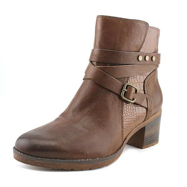 Naturalizer Ringer Women N/S Round Toe Leather Brown Ankle Boot