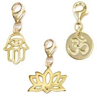 Julieta Jewelry Lotus, Protection Hand, Om Gold Over Sterling Silver Charm Set