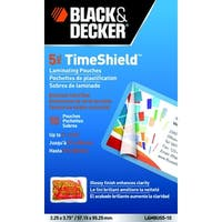 Black & Decker TimeShield Laminating Pouch, 3-1/2 x 2 Inches, 5 mil, Pack of 10