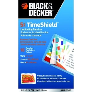 Black Decker TimeShield Laminating Pouch, 3-1/2 x 2 Inches, 5 mil, Pack of 10
