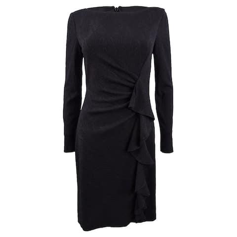 Jessica Howard Women's Ruffled Ruched Stretch Dress - Black