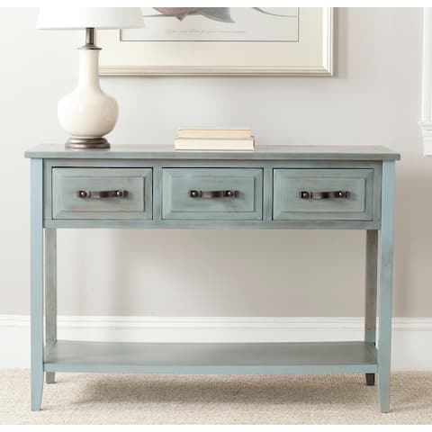 SAFAVIEH Aiden Console Distressed Pale Blue/ White Table