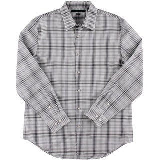 Perry Ellis Mens Non-Iron Ombre Checkered Button-Down Shirt