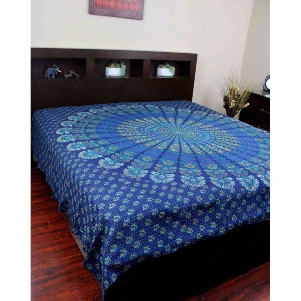 Sanganer Peacock Mandala 100% Cotton Tapestry Throw Tablecloth Spread Twin Full Queen