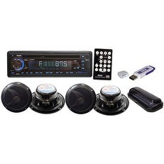 shop complete marine water proof 4 speaker cd usb mp3 combo 6 5 39 39 speakers w stereo cover and. Black Bedroom Furniture Sets. Home Design Ideas